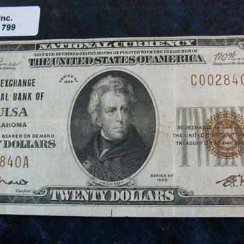 """The Exchange National Bank of Tulsa Oklahoma"", Charter No. 9658. Type 2 , VF +.  & Very Rare......... - US Paper Money"
