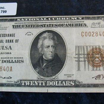"""""""The Exchange National Bank of Tulsa Oklahoma"""", Charter No. 9658. Type 2 , VF +.  & Very Rare........."""