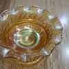 Vintage orange fluted glass bowl