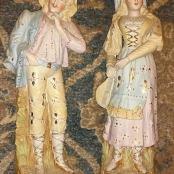 "INFO PLEASE - 24k gold accent bisque porcelain woman with mandolin & man figurines 14 1/2""  - Figurines"