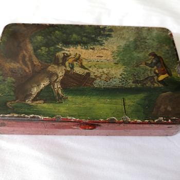 Tin tobacco box with hunting scene - Tobacciana