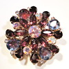 Vintage purple rhinestone glass brooch