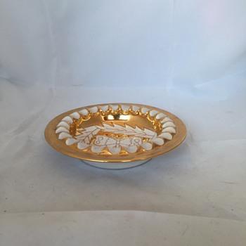 Italian Gold and White Ashtray - Tobacciana
