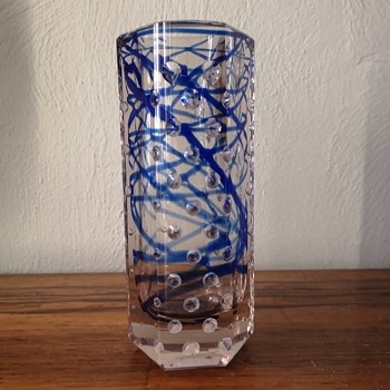 Thick walled faceted vase with blue swirls and holes... Zdenek Nemecek for Crystalex  - Art Glass