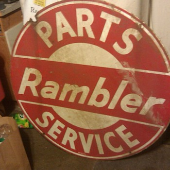 "RAMBLER PARTS AND SERVICE SIGN 42"" ROUND TWO SIDED - Signs"