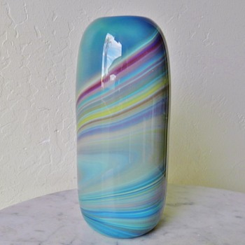 Unknown Agate Swirl Glass Vase - Signed - ?? - Art Glass