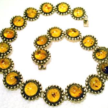 Mexican Silver and Amber Necklace - Fine Jewelry