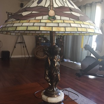 Two lamps with Greek ladies on the base and stained glass shade with dragon flies  - Lamps