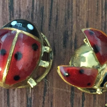 small ladybugs with spiral backs - Costume Jewelry