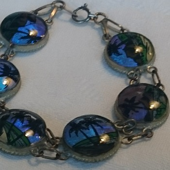 Vintage morpho butterflywings reverse painted panel bracelet - Costume Jewelry