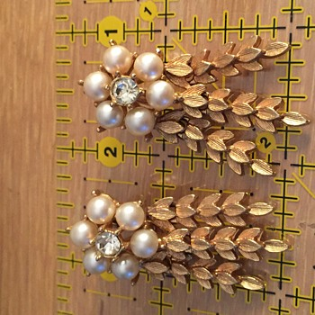 Simulated Pearl and Rhinestone Earrings by Sarah Coventry - Costume Jewelry