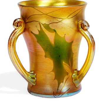 L.C.Tiffany Favrile Grape Leaves & Vines Three Handled Tyg Vase. - Art Glass