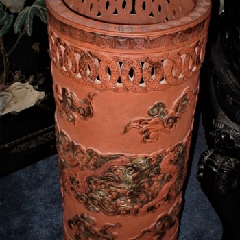 Victorian Chinese Umbrella Stand Terracotta Dragons And Clouds - Furniture