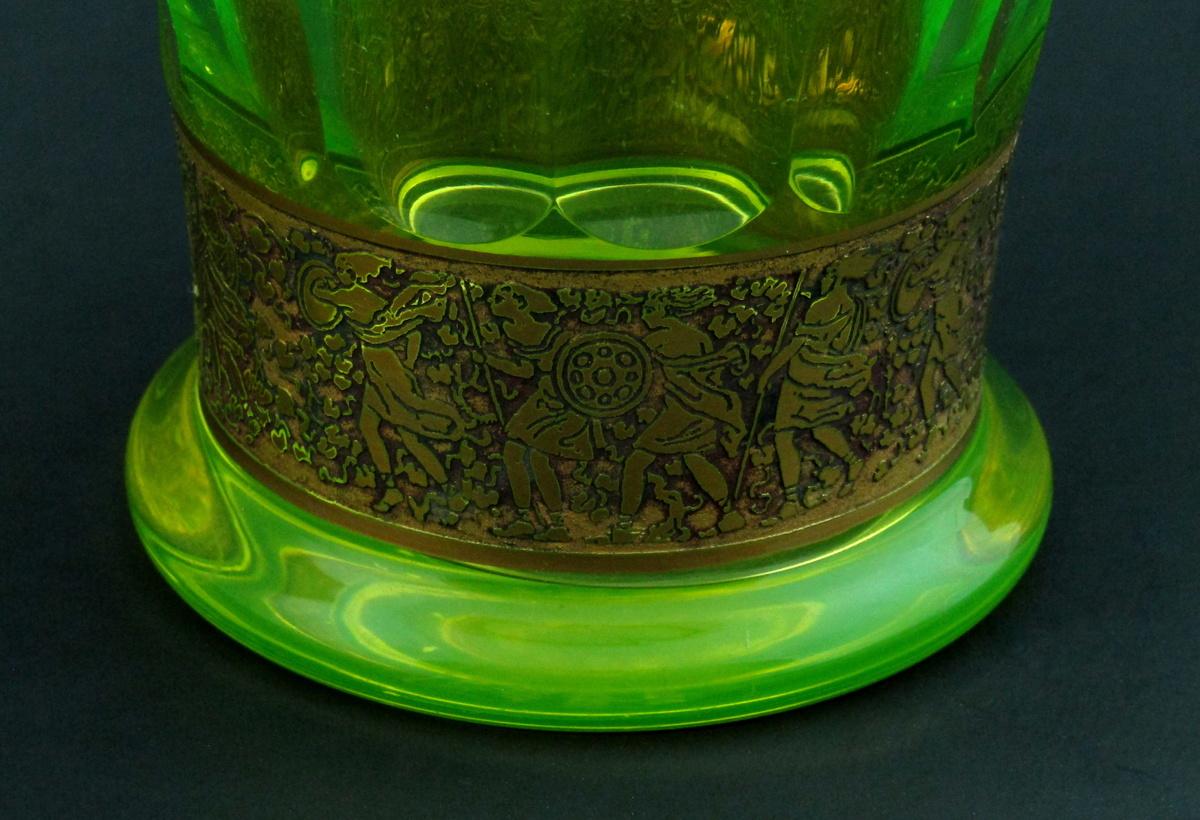 Signed moser vaseline glass uranium warrior frieze vase signed moser vaseline glass uranium warrior frieze vase collectors weekly reviewsmspy