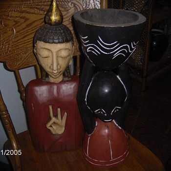 Two Vintage Wood Figures,Chinese Bust 3 Fingers up,African Bust Holding Bowl - Figurines