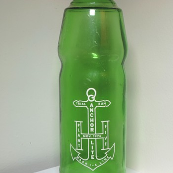 1974 Anchor Hocking Lite Plant 5 Soda Bottle Trial Run Experimental Rare Green Glass ACL Collectible Sample - Bottles