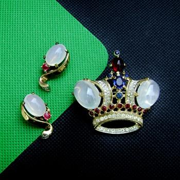 Trifari Regal Crown Brooch and Earring Set - Costume Jewelry