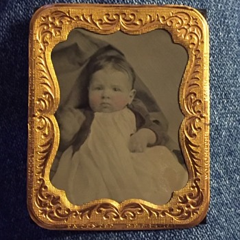 Tintype Baby Photo & Frame Marked Worcester Mass. 1861 - Fine Art