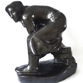 Socialist-Realist clay sculpture by F. Mentlik (Czechoslovakia) - Fine Art