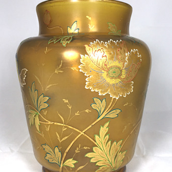 "Fritz Heckert Amber Glass Vase. 8.5"" Tall. Circa 1900 - Art Glass"