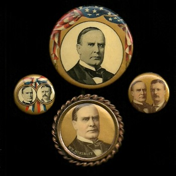 1896 - 1909 McKinley & Roosevelt Political Pinback Button's - Medals Pins and Badges