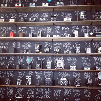Vintage Camera Collection Wall