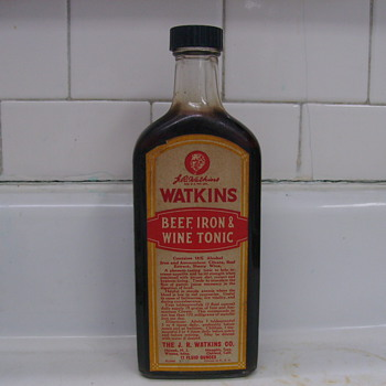 1960's Bottle of Watkins Beef & Iron Tonic, Still Full of Tonic!