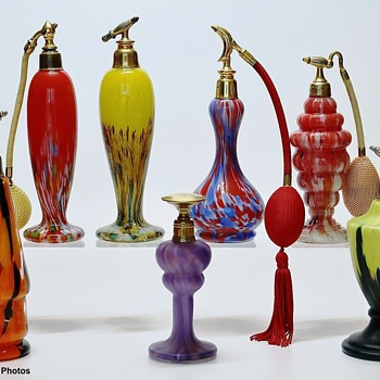 Art Deco Czech Art Glass Perfume Bottles - Art Glass