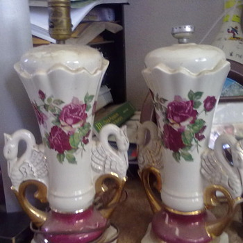 """These lamps have the name """"Woccall"""" on them under the hand painted flowers. - Lamps"""