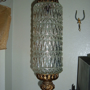 crystal or pressed glass swaglight chandelier - Lamps