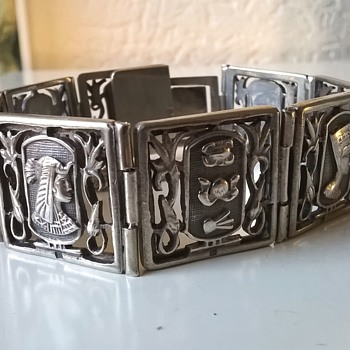 800 Silver Egyptian Panel Bracelet - A Gift From A Friend - Costume Jewelry