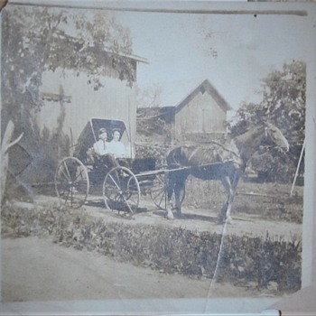 Early Photo of horse and buggy. - Photographs
