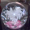 Large paper weight pink and white base a lovely flare of white with bubbles all round