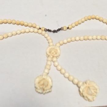 Carved Ivory Flower Necklace