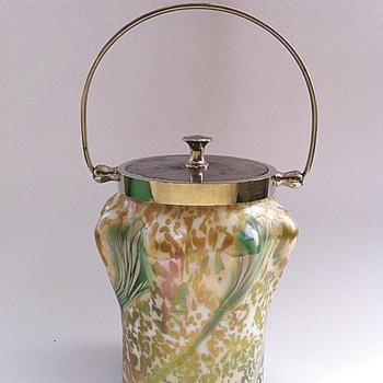 A very different Kralik decor on a biscuit barrel - Art Glass