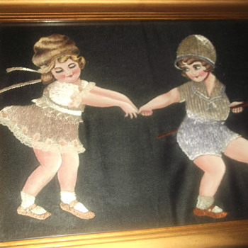 Embroidered and painted picture on black silk - Posters and Prints