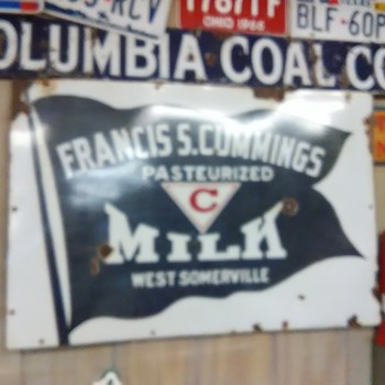Porcelain Francis S. Cummings Milk  sign and Columbia Coal sign - Signs