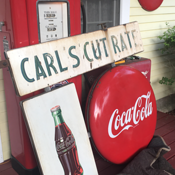"""Grouping of 1940's Coca-Cola double sided porcelain signs """"CARL'S CUT RATE"""" - Coca-Cola"""