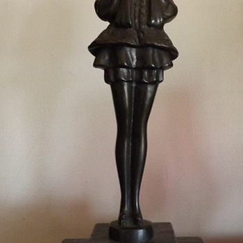 "Art Deco statue on marble base ""PIERRETTE"" J.B. Hirsch's son"