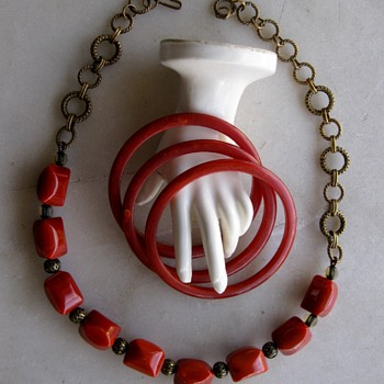 Paprika swirl bakelite spacer bangles and pillow bead redo - Costume Jewelry