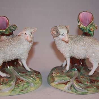Staffordshire Ewe and Ram spill vases - Animals