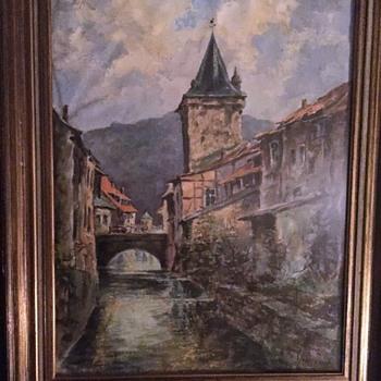 European Scene Oil on Paper - Fine Art
