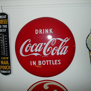 1960's Drink Coca Cola In Bottles Bullseye Porcelain Sign  - Coca-Cola