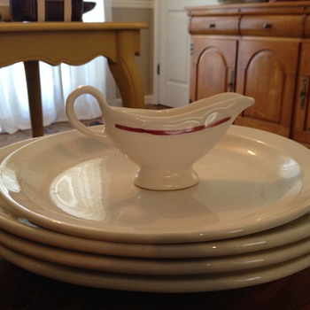 My Homer Laughlin restaurant china platters and gravy boat are best for serving.