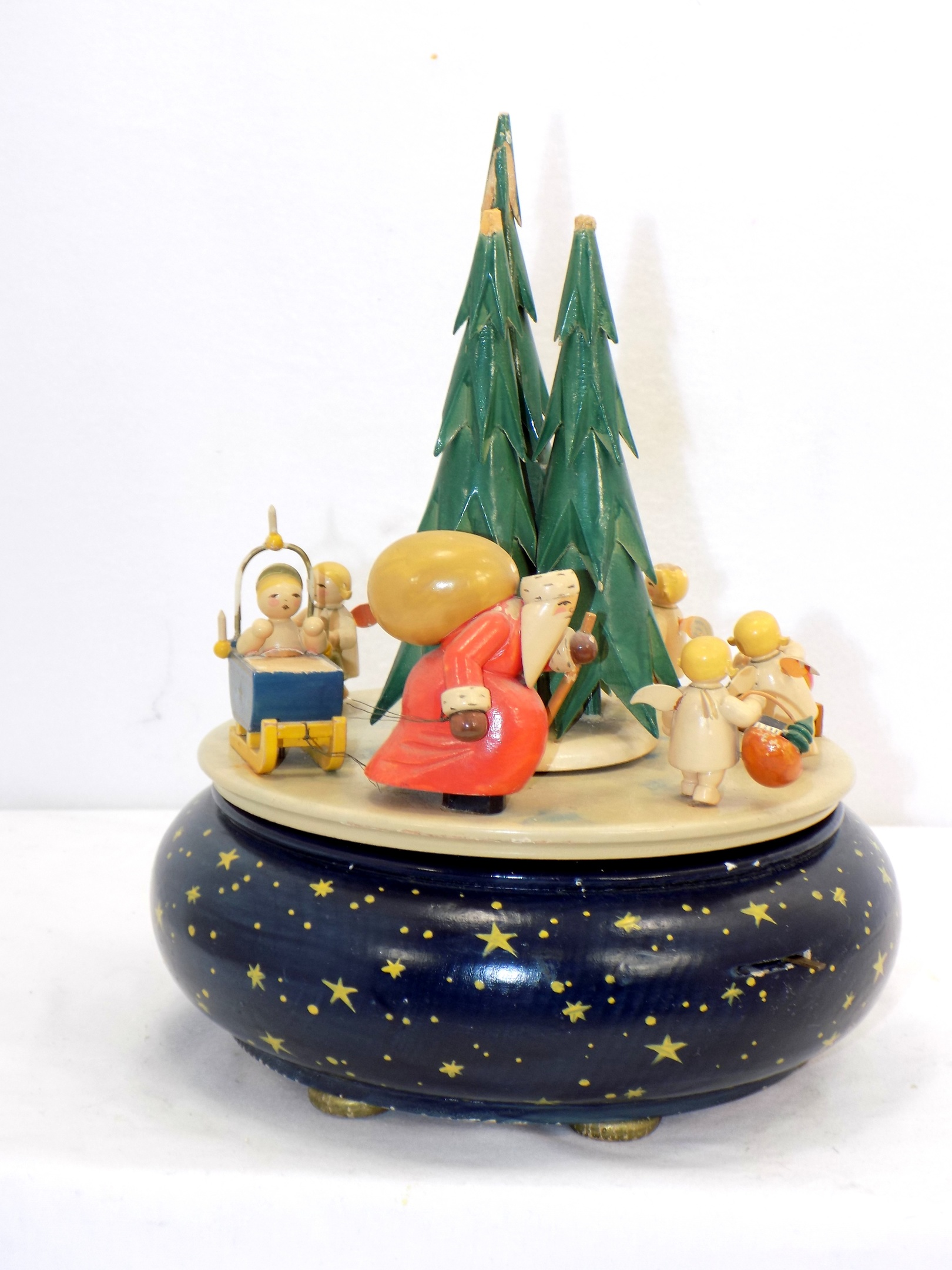 Wendt Kuhn German Wooden Music Box Christmas Procession Santa And