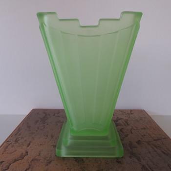 Jobling Art Deco Uranium Glass Vase - Glassware