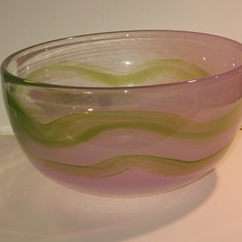 Large signed art glass bowl