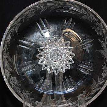 American Brilliant Cut Glass Dish Signed Sinclaire