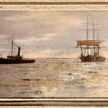 Antique Photo Steam tug towing 3 masted schooner - Photographs