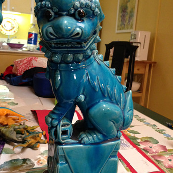 Antique Turquoise Foo Dogs - Asian